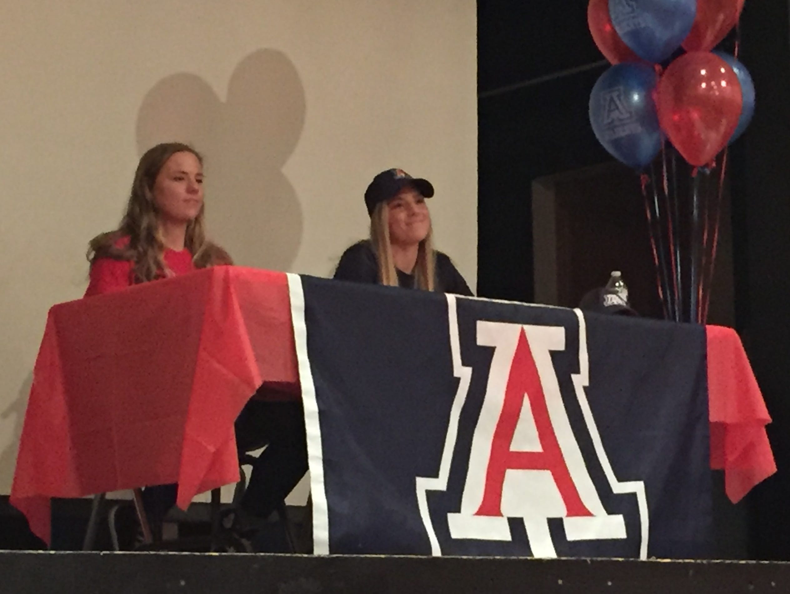 South Salem seniors Hannah Clifford (left) and Hailey Clifford signed National Letters of Intent to play soccer at Arizona on Wednesday, Feb. 1, 2017.