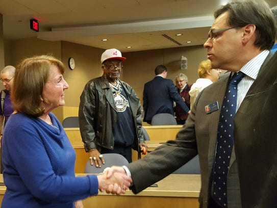 Congressional candidate Mary Hoeft, D-Rice Lake, shakes
