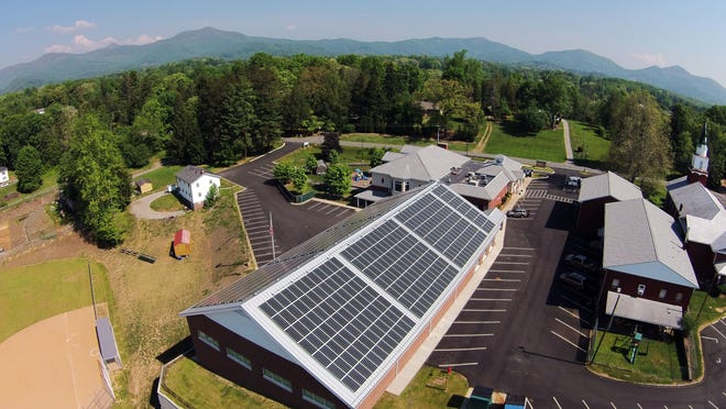 A new solar array is shown on the roof of Hominy Baptist Church in Candler. Drone provided by Chris Wilson.
