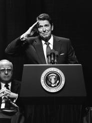 Ronald Reagan speaking at Purdue's Mackey Arena on