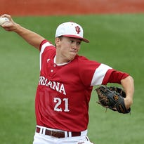 Indiana University's Christian Morris (21) pitches in the first inning during the NCAA regional baseball game Sunday, June 1, 2014, evening at Bart Kaufman Field in Bloomington IN. Matt Kryger / The Star