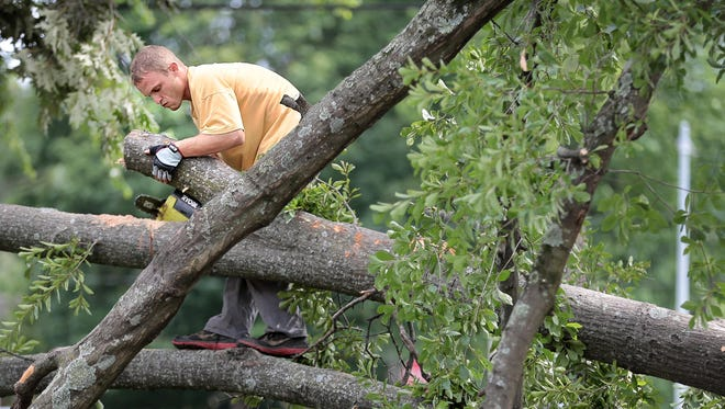 John Madajczyk tries to cut through a log jam of downed trees on Kensington Street after a severe thunderstorm knocked out power to most of Memphis on Saturday night.