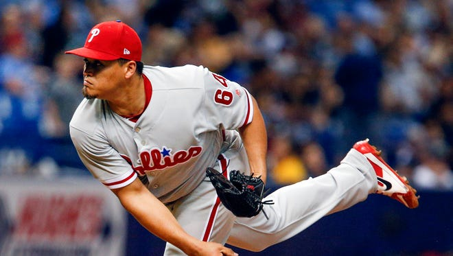 Philadelphia Phillies relief pitcher Victor Arano (64) has retired 25 batters in a row to start the season.