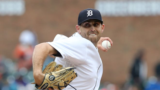 Detroit Tigers starting pitcher Matthew Boyd throws during the first inning of Game 1 of a doubleheader against the Seattle Mariners, Saturday, May 12, 2018, in Detroit.