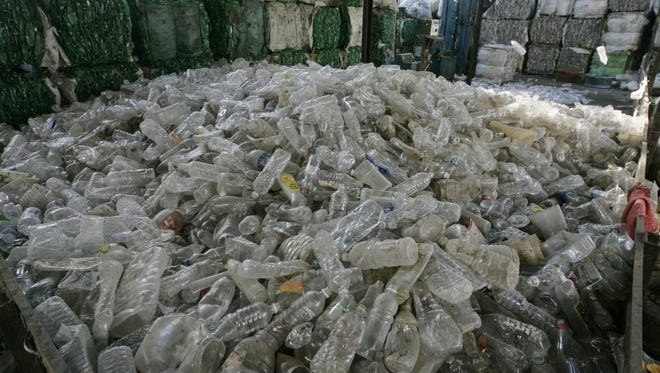 A pile of plastic water bottles.