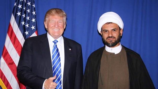 Sheikh Mohammad Al Hajj Hassan, who leads the Free Shia Movement in Lebanon, with Donald Trump in Novi on Sept. 30, 2016