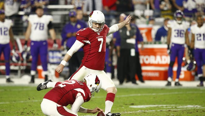 Arizona Cardinals' Chandler Catanzaro kicks the game winning field goal against the Minnesota Vikings in the second half on Dec. 10, 2015 in Glendale, Ariz.