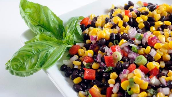 Black Bean and Corn Salad is high in protein and fiber.