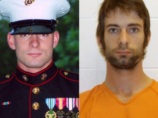 Eddie Ray Routh as a Marine and after his arrest in the shooting deaths of Chris Kyle and Chad Littlefield.