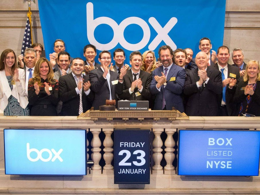 Box execs at the company's IPO debut in January.