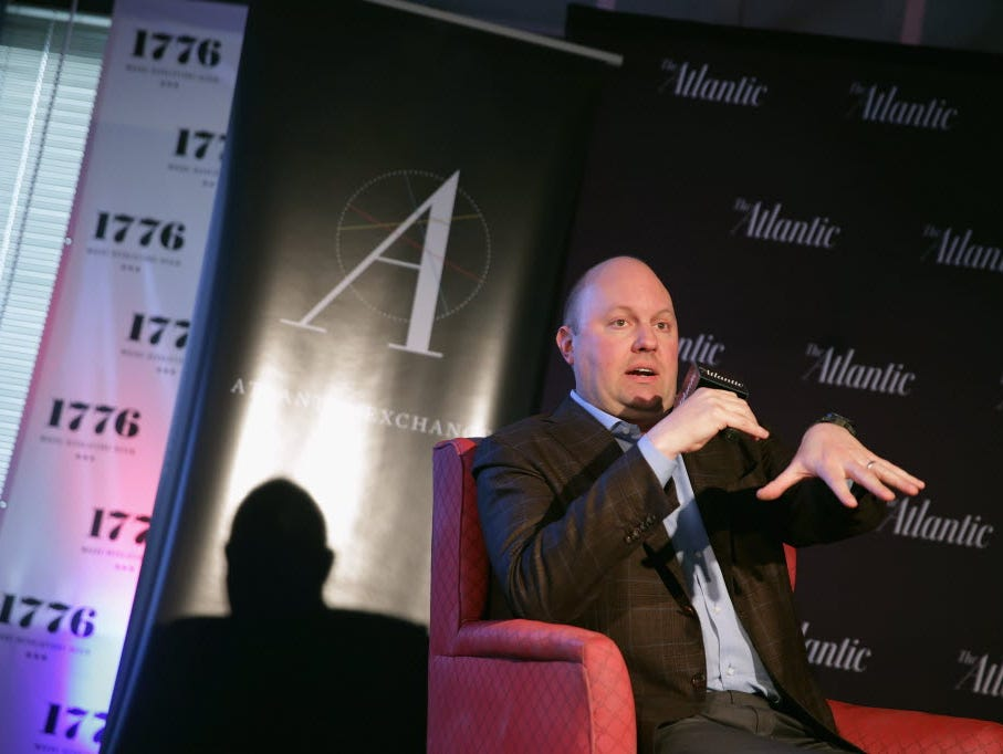 Venture capitalist and co-founder of Andreessen Horowitz Marc Andreessen participates in an Atlantic Exchange  interview at 1776 in The Penthouse May 19, 2014, in Washington, D.C.