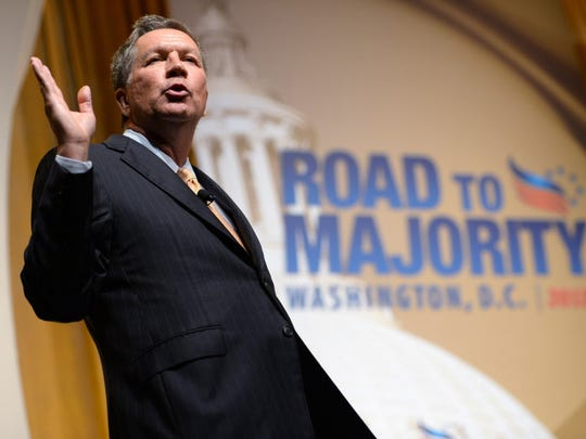 Ohio Gov. John Kasich delivers remarks during The Faith