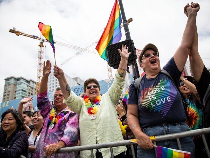 Cheering the San Francisco Gay Pride Parade on June