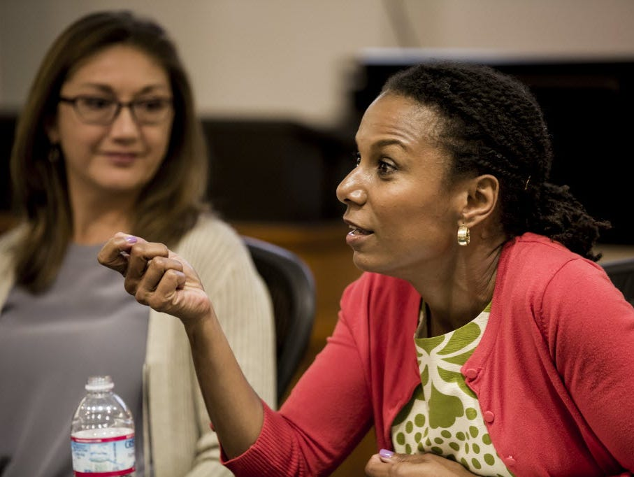 Maxine Williams, Facebook's head of global diversity, speaks on a USA TODAY diversity panel in 2014.