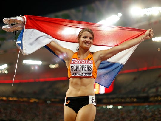 Dafne Schippers of the Netherlands celebrates after