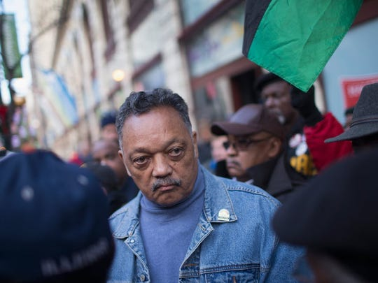 Rev. Jesse Jackson leads Chicago demonstrators in December