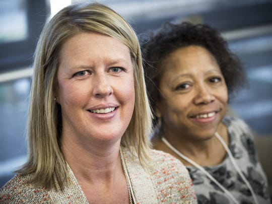 Marie Beechy, left, and Laneyse Hooks attend an event
