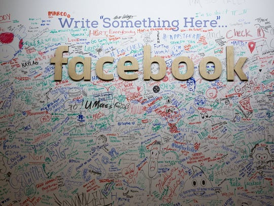 Facebook wall in the company's New York office