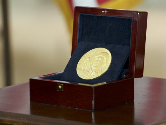 The Congressional Gold Medal was awarded on April 13,