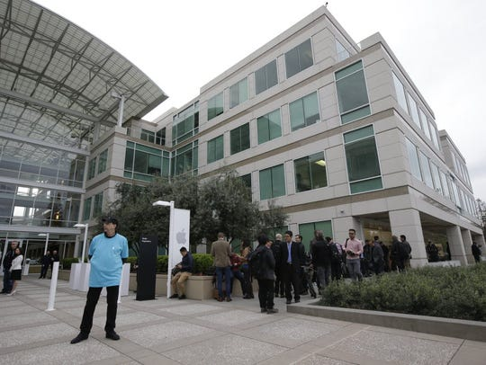 The exterior of Apple headquarters is seen before an