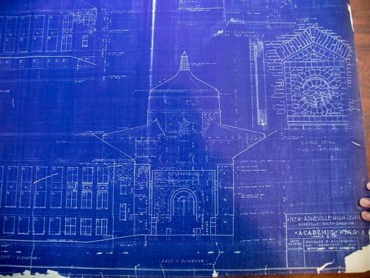 An original copy of the blueprints of Asheville High