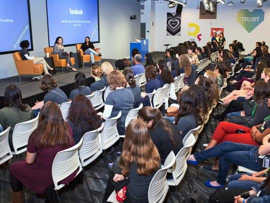 Girls Who Code founder Reshma Saujani, right, Facebook