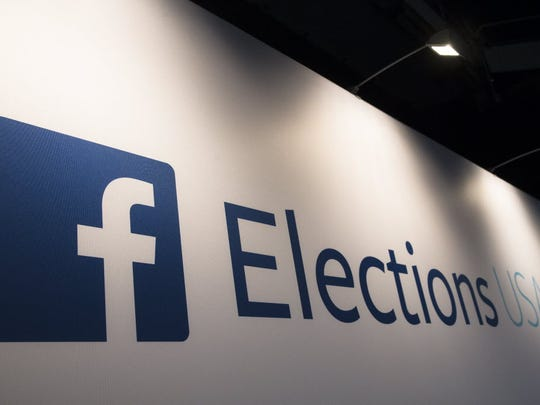 FaceBook Elections signs stand in the media area at