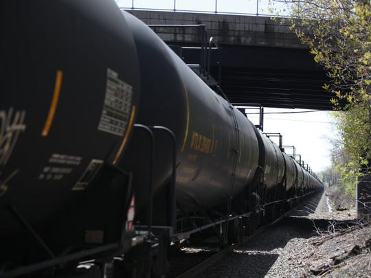 A train carrying Bakken crude sits idle on the CSX tracks in Teaneck in 2014. Trains like this go over a bridge in Ridgefield Park that has drawn concern from environmentalists.