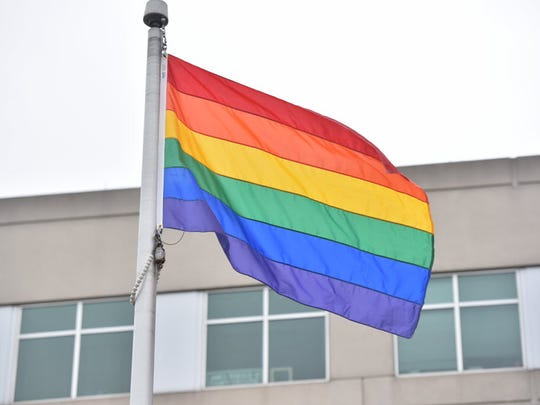 The rainbow flag was risen at Bergen County Plaza in Hackensack.