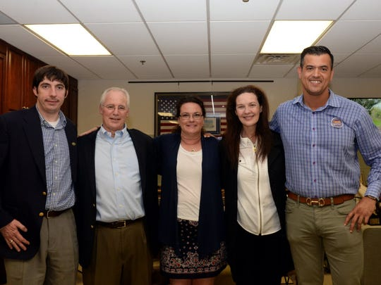 Michael Sedon, Jeff Voigt, Bernadette Walsh, Susan Knudsen and Ramon Hache on May 10, 2016, the night of the last municipal election in Ridgewood.