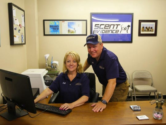 Paul and Donna Coley, pictured in the Scent Evidence K9 office.