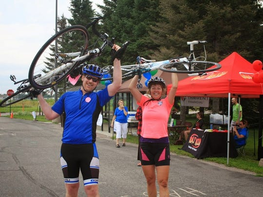 Habitat 500 riders finish the 2014 Habitat 500 in a Times file photo.