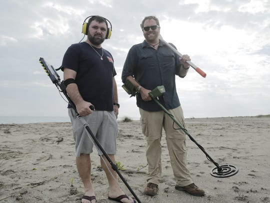 Josh Gates and treasure hunter Eric Schmidt search