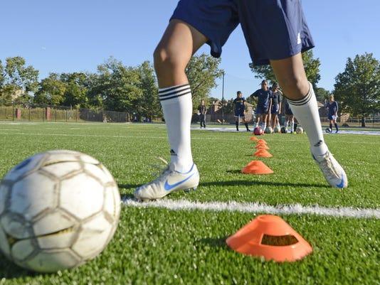 Girls soccer stock photo