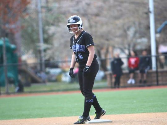 Standing on second base, Millburn's Katy Shepard sets