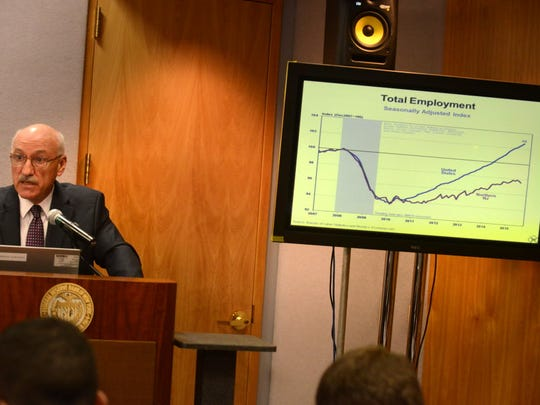 James Orr, V.P. Regional Analysis,, at the 6-month press briefing on the economic conditions of the 2nd District, including Northern New Jersey held at the N.Y. Federal Reserve Bank. An audit report published last week by the State Comptroller was critical of New Jersey's programs to grant corporate subsidies to boost the state economy. Gov. Phil Murphy has vowed to reform them.