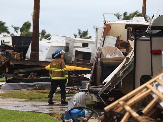 Damage in Port Aransas, Texas, following Hurricane