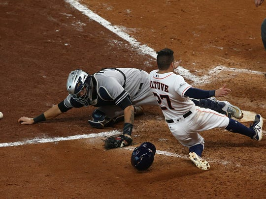 Gary Sanchez drops the ball on the final play of Saturday's loss