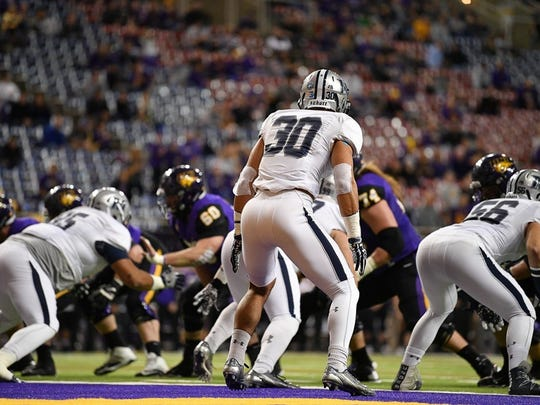 Monmouth safety Mike Basile (30) during the Hawks FCS playoff game at Northern Iowa.