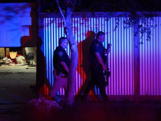 Officers entered a garage of a residence on Mount Vernon