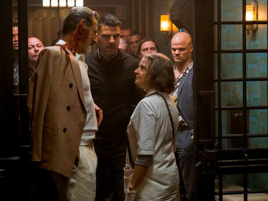 "From left, Jeff Goldblum, Zachary Quinto and Jodie Foster in a scene from ""Hotel Artemis."""