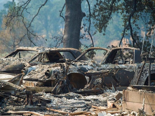Vehicles and homes on Wolf Creek Road were destroyed in the Pawnee Fire in Lake County as residents were forced to evacuate and the fire continued to burn out of control on Monday, June 25, 2018 in Spring Valley, Calif.