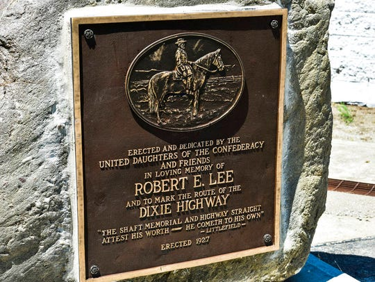 A Confederate marker in Franklin, Ohio,  is back on