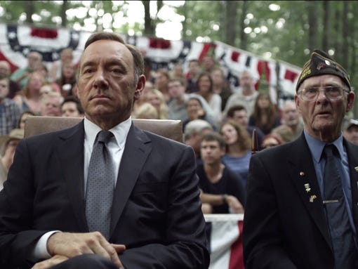 Screen grab of YouTube video 'House of Cards - Season 2 - Official Trailer - Netflix [HD]' TV on the Web - House of Cards - Trailer Frank Underwood (Kevin Spacey��ôs character on House of Cards) lives by one rule: ��úhunt or be hunted.��ù Netflix unveiled the official season two trailer for the original series, and to call it intense would be an understatement. The trailer manages to tease high stakes political conspiracy, corruption, knife fights, murder and a lot of dramatic yelling all in the span of 2-minutes.  usatoday.com/interactives/tv-on-the-web [Via MerlinFTP Drop]