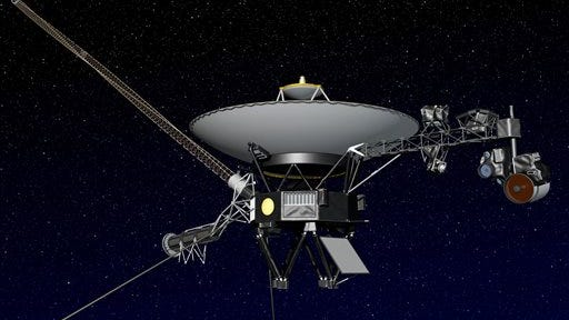 This artist rendering released by NASA shows NASA's Voyager 1 spacecraft in space. The space agency announced Thursday, Sept. 12, that Voyager 1 has become the first spacecraft to enter interstellar space, or the space between stars, more than three decades after launching from Earth.