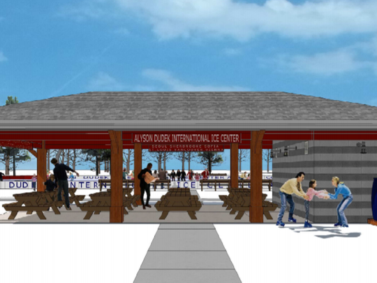 The proposed shelter for the Alyson Dudek International Ice Center in Hales Corners Park would have picnic tables and restrooms for use year-round.