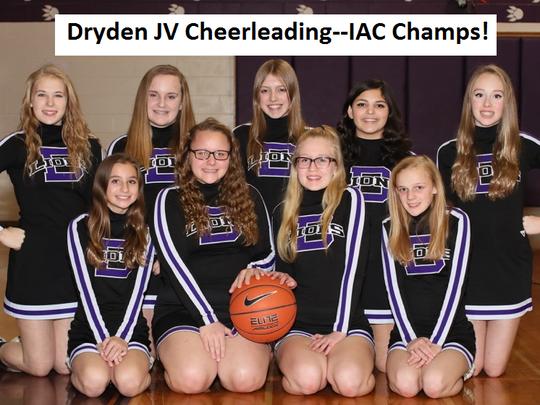 The IAC champion Dryden JV cheerleading team.