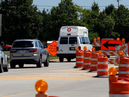 The four-lane Dewey Street has been narrowed to one lane, and eastbound only, as a result of the construction on Tuesday, July 26. Construction crews started work on the street July 18 from South 26th Street to South 39th Street and was planned to continue through Sept. 30.
