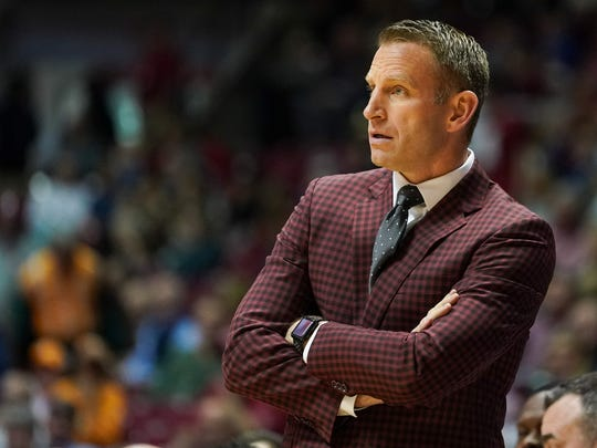 Feb 4, 2020; Tuscaloosa, Alabama, USA; Alabama Crimson Tide head coach Nate Oats during the first half against the Tennessee Volunteers at Coleman Coliseum. Mandatory Credit: Marvin Gentry-USA TODAY Sports