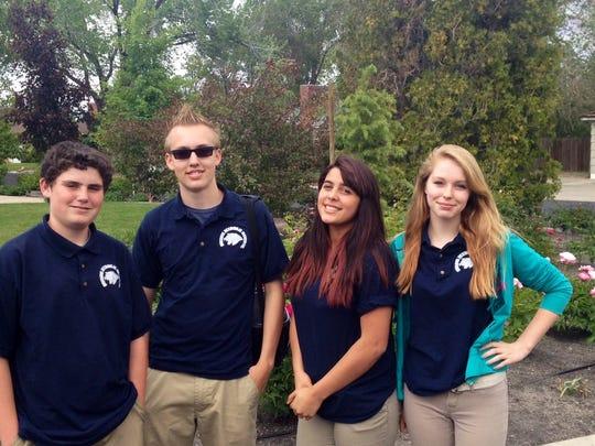 From left: Tyler Geraci, 14, Briar Gracey, 14, Jayden Matcham, 14, and Kaylee Lamothe,13